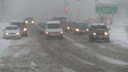 HD2008-12-7-1 snow traffic Stock Video Footage