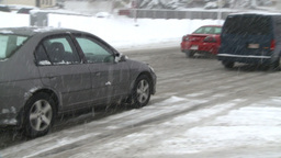 HD2008-12-7-13 snow traffic spinning tires Stock Video Footage