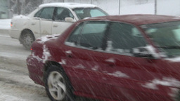 HD2008-12-7-17 snow traffic spinning tires Stock Video Footage