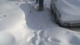 HD2008-12-7-33 snow shovel walk Footage