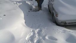 HD2008-12-7-33 snow shovel walk Stock Video Footage