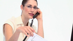 Businesswoman with glasses phoning Footage