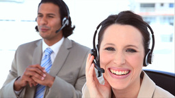 People in suit using headsets Footage
