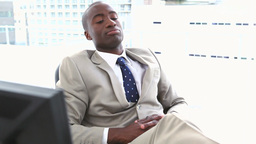 Black businessman resting Footage