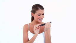 Happy woman filling her nails Stock Video Footage