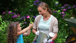 Mother and daughter watering plants Stock Video Footage