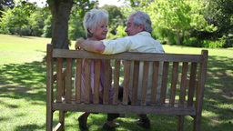 Rear view of a mature couple sitting on a bench Footage