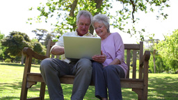 Retired people using a laptop Footage