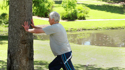 Relaxed Mature Man Making Stretching Exercises stock footage