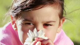 Peaceful little girl smelling a flower Footage