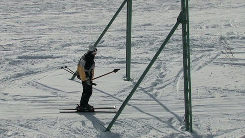 Skier uphill Stock Video Footage