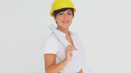 Businesswoman trying on a hard hat Stock Video Footage
