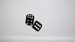 Two black dices in super slow motion rebonding Stock Video Footage