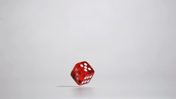 Red dice bouncing in super slow motion Footage