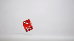 One red dice in a super slow motion rebounding and Stock Video Footage