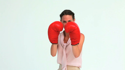 Welldressed woman boxing Stock Video Footage