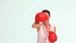 Welldressed woman boxing Footage