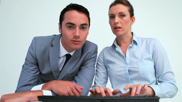 Business people working together with a computer Footage