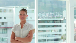 Businesswoman posing the arms crossed Stock Video Footage