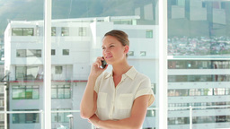 Businesswoman smiling while phoning Footage