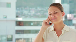 Beautiful woman phoning with a mobile Footage