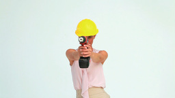 Woman With A Safety Helmet Shooting With A Screw G stock footage