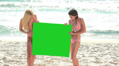 Two women holding a green screen Footage