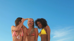 Three dancing friends in their bikinis Footage