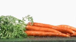 Tasty carrots in super slow motion receiving raind Stock Video Footage