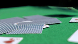 Playing card in super slow motion landing Footage