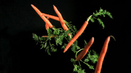Carrots throws in super slow motion Footage