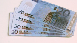 Twenty euros banknotes spread in super slow motion Stock Video Footage