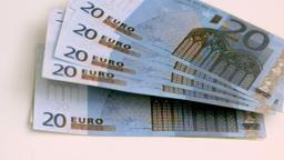 Twenty euros banknotes spread in super slow motion Live Action