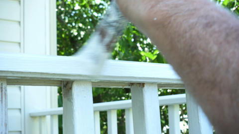 1787 Man Paint Brushing Wooden Deck White, 4K Stock Video Footage