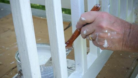 1788 Man Paint Brushing Wooden Deck White, 4K Stock Video Footage
