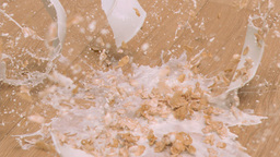 Cereals bowl falling in super slow motion Stock Video Footage