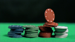 Poker chips falling in super slow motion on other  Footage