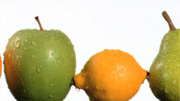Fruits being watering in super slow motion Stock Video Footage