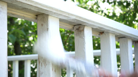 1789 Man Paint Brushing Wooden Deck White, HD Stock Video Footage