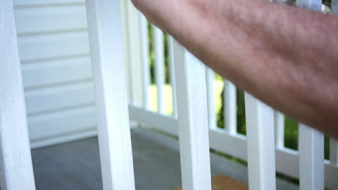 1790 Man Paint Brushing Wooden Deck White In Slow  stock footage