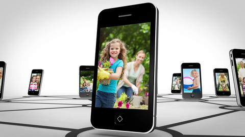 Family happy together on smartphone screen Animation