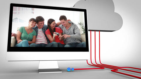 Videos of friends on multiple devices, Stock Animation
