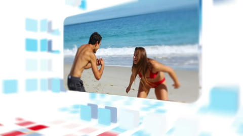 Couple enjoying the summer on the beach Animation