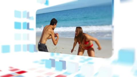 Couple enjoying the summer on the beach Animation