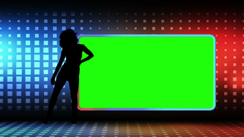 Woman silhouette dancing next to a screen in chrom Animation