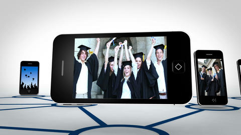 Graduate students videos on smartphone screens Stock Video Footage
