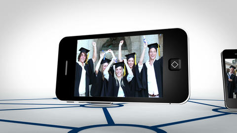 Graduate students videos on smartphone screens Animation