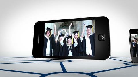 Graduate students videos on smartphone screens Animation