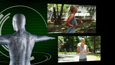 Videos of a blonde woman jogging Animation