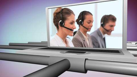 Smiling people working in a call centre Stock Video Footage